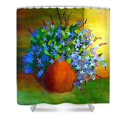 Campanula In Terra Cotta Shower Curtain by Desiree Paquette