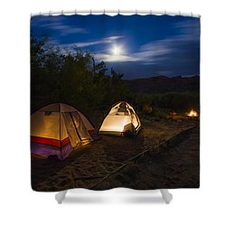 Campfire And Moonlight Shower Curtain by Adam Romanowicz