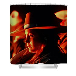 Campfire Glow Shower Curtain by Diane Bohna