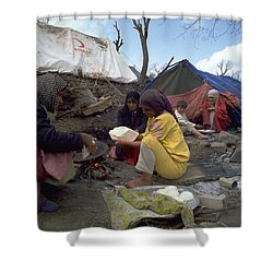 Shower Curtain featuring the photograph Camping In Iraq by Travel Pics