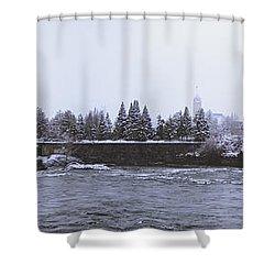 Canada Island And Spokane River Shower Curtain by Daniel Hagerman