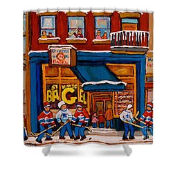 Canadian  Artists Paint Hockey And Montreal Streetscenes Over 500 Prints Available  Shower Curtain by Carole Spandau