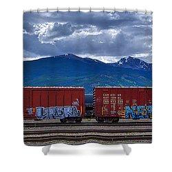 Canadian Freight Train In Jasper Shower Curtain
