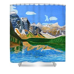 Canadian Mountains And Lake  Shower Curtain by Magdalena Frohnsdorff