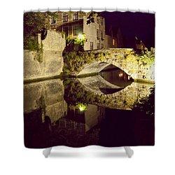 Canal Bridge Reflection Shower Curtain