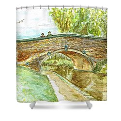 Shower Curtain featuring the painting Canal-bridal Path In Staffordshire  by Teresa White