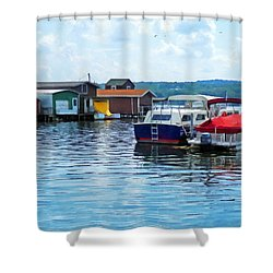 Canandaigua Fishing Shacks Shower Curtain