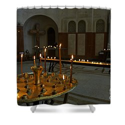Candles Inside The Tsminda Sameba Cathedral Tbilisi Shower Curtain by Robert Preston