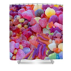Candlyland Gumdrops Shower Curtain by Alixandra Mullins