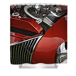 Candy Apple Red And Chrome Shower Curtain