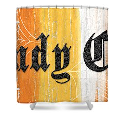 Candy Corn Sign Shower Curtain by Linda Woods
