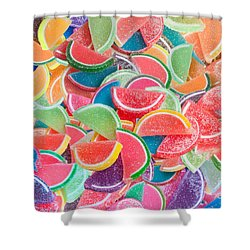 Candy Fruit Shower Curtain by Alixandra Mullins
