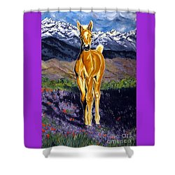 Candy Rocky Mountain Palomino Colt Shower Curtain by Jackie Carpenter