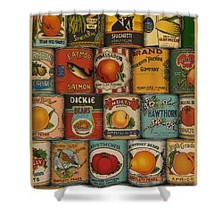 Canned Shower Curtain by Meg Shearer