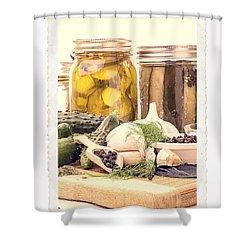 Canning Kitchen Art Shower Curtain by Edward Fielding