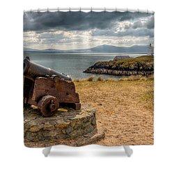 Cannon At Llanddwyn  Shower Curtain by Adrian Evans