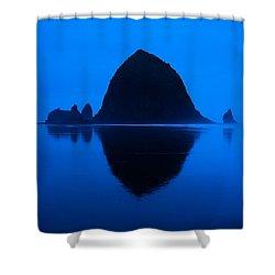 Cannon Beach Blue Shower Curtain