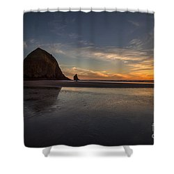 Cannon Beach Dusk Conclusion Shower Curtain by Mike Reid