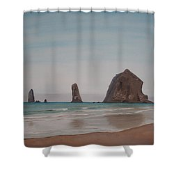 Cannon Beach Haystack Rock Shower Curtain