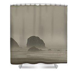 Shower Curtain featuring the photograph Cannon Beach In A Fog Oregon by Yulia Kazansky