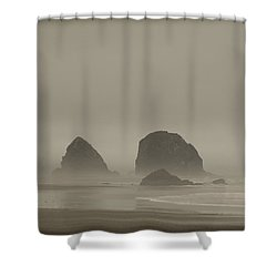 Cannon Beach In A Fog Oregon Shower Curtain