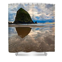 Cannon Beach With Storm Clouds In Oregon Coast Shower Curtain by Jamie Pham