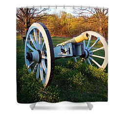 Cannon In The Grass Shower Curtain by Michael Porchik