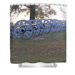 Cannon's In Fog Shower Curtain by Michael Porchik