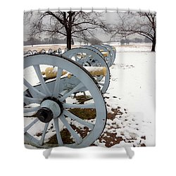 Cannon's In The Snow Shower Curtain by Michael Porchik