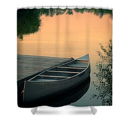 Canoe At A Dock At Sunset Shower Curtain by Jill Battaglia