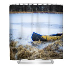 Canoe At The Frozen Lake Shower Curtain