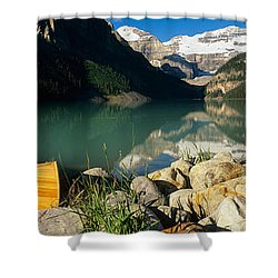 Canoe At The Lakeside, Lake Louise Shower Curtain by Panoramic Images