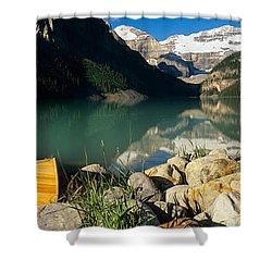 Canoe At The Lakeside, Lake Louise Shower Curtain