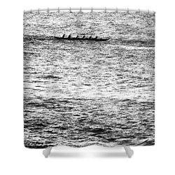 Canoe Glitter Shower Curtain by Sean Davey
