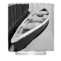 Canoe In The Snow Shower Curtain by Susan Leggett