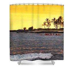 Canoe On Kona Coast Shower Curtain by Athala Carole Bruckner