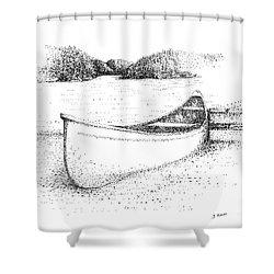 Canoe On The Beach Shower Curtain by Steve Knapp
