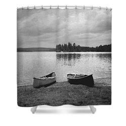 Canoes - Canisbay Lake - B N W Shower Curtain