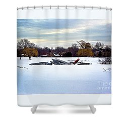 Canoes In The Snow Shower Curtain