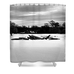 Canoes In The Snow - Monochrome Shower Curtain