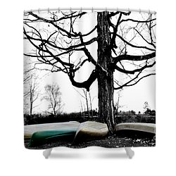 Canoes In Winter Shower Curtain