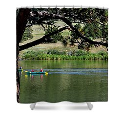 Canoes On Manitou Lake 11957 Shower Curtain