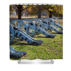 Canon Formation Shower Curtain by Leeon Pezok