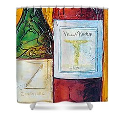 Shower Curtain featuring the mixed media Cantina Campione by Phyllis Howard