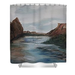 Shower Curtain featuring the painting Canyon De Chelly by Ellen Levinson