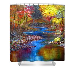 Shower Curtain featuring the painting Canyon River by LaVonne Hand