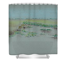 Shower Curtain featuring the pastel Canyon View by Michele Myers