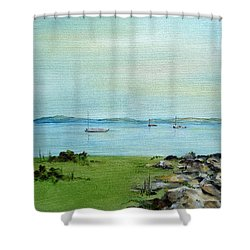 Cape Cod  Boats Shower Curtain by Judith Rhue