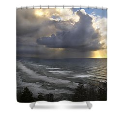Shower Curtain featuring the photograph Sunset At Cape Lookout Oregon Coast by Yulia Kazansky