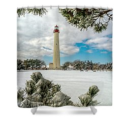 Cape May Light Thru Snowy Trees Shower Curtain